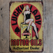 Vintage Home Decor Lucky Lady Motor Oil Vintage Metal Tin Sign Retro Metal Sign Decor The Wall of Cafe Bar Home Custom Neon Sign