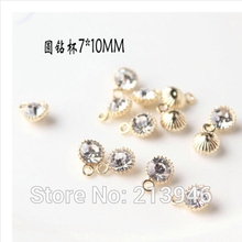 Buy 50Pcs 7*10MM Round Glass Rhinestones Gold Color Alloy Beads Jewelry Charms for $6.38 in AliExpress store
