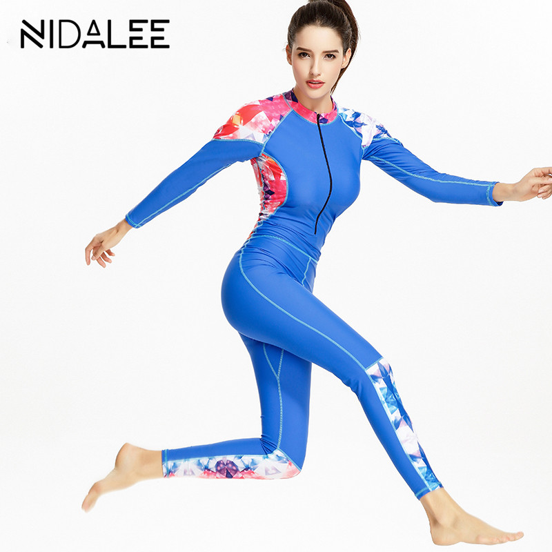 Zipper Women Diving suit Long Sleeve Wetsuits 2017 Women Slim Zipper One Piece Surfing Suit Swimwear Swimsuit Womens Jumpsuit<br>