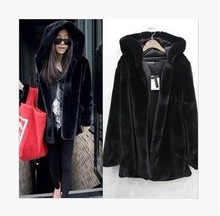 Women kunstpelzmantel Winter Warm Women's Rabbit Fur Coat Fox Fur Collar Marten Hair Long Hooded Fur Coats