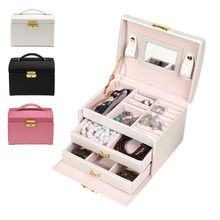 Jewelry Storage Box 3 Layer With Mirror And Lock PU Leather Display Lockable Travel Jewelry Makeup Organizer Gift Case