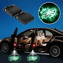 philadelphia Protector Lamp 2pcs/lot Battery Power Wireless eagles Door Projector Lights Outdoor Decoration Advertising Light(China)