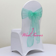 WedFavor 100pcs Tiffany Green Banquet Organza Chair Cover Bow Sashes Wedding Chair Ties For Hotel Event Party Decoration