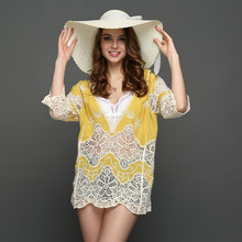 2017 new summer women sexy beach deep V collar patch shade lady sundae holiday five sleeves sunscreen dress
