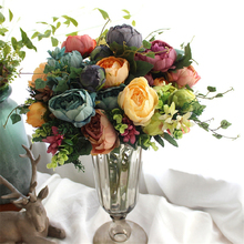 7-12 heads/bouquet large artificial peony bouquet real touch roses silk flower bouquet for wedding decoration mariage