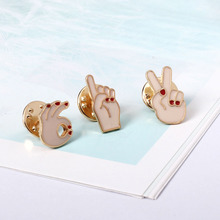 F.J4Z new arrival fashion lovely girls gift brooches(3pcs/set) enamel OK /V sign costume brooch pins set accessories for women
