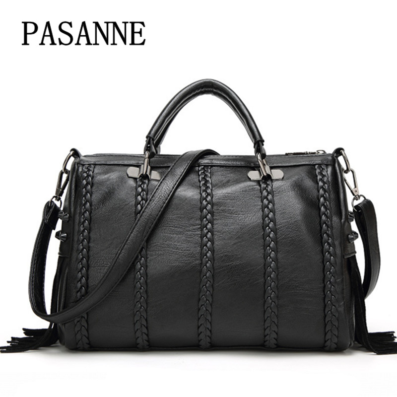 New Women Bag Handbag Shoulder Bag PASANNE Brand Leather Causal Tote Ladies Large Woman Handbags Girl Vintage Female Bags<br>