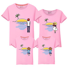2017 new design family clothing Summer Short sleeve love pattern father daughter girl boy T-shirt family matching clothes VB2-7(China)