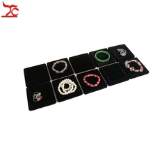 Wholesale 10pcs /lot Jewelry Display Black Velvet Flat Small Tray Black Holder Case For Bangle Bracelet Anklet Watch Display(China)