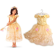 HOT Children Girls Princess Dress Kids Chiffon Dresses Cinderella Rapunzel Aurora Belle Dress Cosplay White Snow Costume Clothes