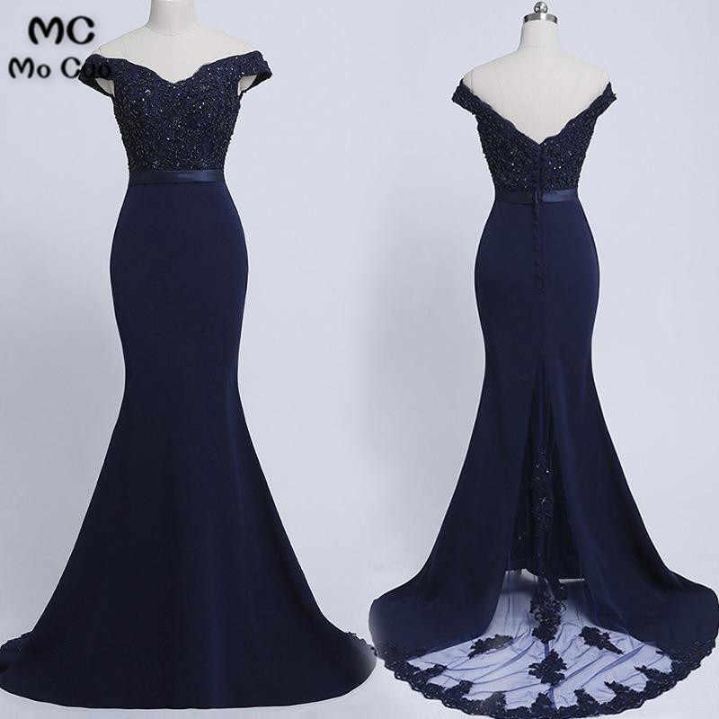 2018 Dark Blue Mermaid Off Shoulder Bridesmaid Dresses Long Wedding Party  Dress Short Sleeve Sweep Train 2e32314c7aae