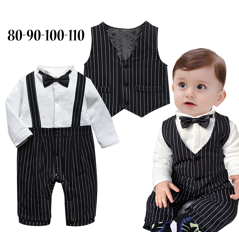Baby boy winter gentlemen romper infant toddler warm bow tie jumpsuits+vest/jacket 6M-3T kids wedding Christmas party clothes<br><br>Aliexpress