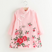 2017 spring Chinese style children dress girls children's Cheongsam girls floral dress princess children's clothing