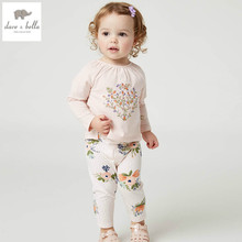 DB4455dave bella spring baby girls sports clothing sets kids orange floral clothing sets with ruffle T-shirt pants(China)