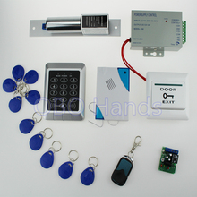 Free shipping 125KHz access control system 157+electronic bolt lock +power supply+key fobs+door bell+exit button+remote control(China)