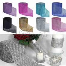 1 Yard x 12cm Wide Multicolor Crystal Diamond Mesh Rhinestone Ribbon for Wedding Party Gift Vase Floral Decoration