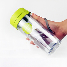 Creative plastic teacup outdoor sports water bottle tea infuser water bottle double wall plastic tea bottle tea with lid(China)