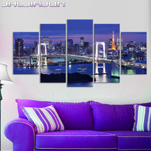 Modular pictures night view modern poster frame Child room decoration home decor 5 piece canvas art HD print oil painting frame