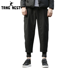 TANGNEST Winter Thick 2017 New Warm Fashion Two Pieces Pencil Pants Loose Soft Black Mid-waist High Quality Pants MKY234