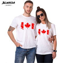 BLWHSA Fashion Canada Flag Print Women Men Couple Clothes 100% Cotton O-neck Short Sleeve White TShirt Couple T Shirt For Lovers(China)