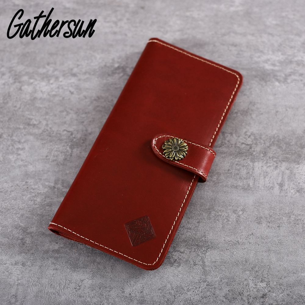 Gathersun Brand Handmade High Quality Real Genuine Leather Wallet Bifold Vintage Crazy Horse Leather Card Holder Coin Purse<br>