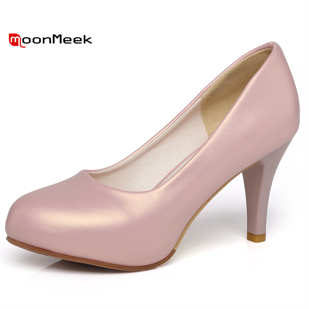 MoonMeek spring autumn 2018 new arrive simple sexy women shoes slip on casual extreme high heel women pumps shoes<br>