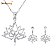 2017 New Imported Crystal Necklace/Earrings Sets of women--Love Upon Maple Leaves/A(China)