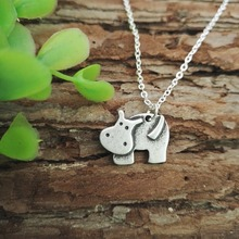 20pcs charm pendant Tiny Hippo necklace zoo animals Jewelry Vampire Jewelry gift for her daughter gift SanLan(China)