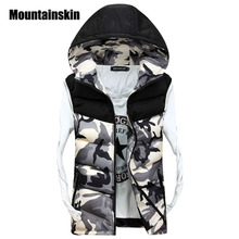 2017 Men's Hooded Camouflage Vests Men Women Winter Sleeveless Casual Jackets Male Slim Camo Waistcoats 4XL Brand Clothing SA030(China)