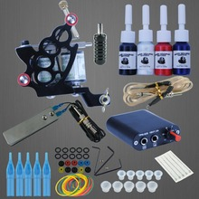 Complete Tattoo Machine Kit Set 4 Colors Black Pigment Sets Power Tatoo Beginner Grips Kits Permanent Makeup Tattoo Machine Set