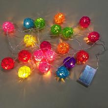 20 Rattan Ball 2.5m Led String Fairy Lights Christmas Tree Ornaments Xmas Decoration Multicolor LED Lights Home Garden Decor