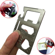 Stainless Steel Multi Tools 11 in 1 Multifunction Camping Pocket  Credit Card Knife Silver Color Portable Fashion Gift