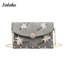 Fashion Women Pu Leather Messenger Bag 2017 Flower Embroidery Handbag Vintage Shoulder Bags Ladies Party Purse Women's Handbags