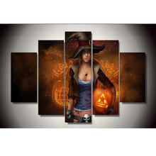 2017 5 Piece Hot Sale Female Wizard With Fire Background Wall Art Home Decoration For Living Room Canvas Painting Unframed