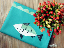 Japanese FISH Pattern Printed 100% Cotton Kitchen Tea Towel