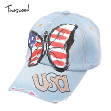 [TIMESWOOD] Brand New Fashion Letter USA Flag Butterfly Baseball Caps Blue Denim Women's  For Woman Korean Style Bones Aba Curva