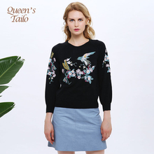 Queen's Tailo High Quality Woman Sweater Bird Embroidery Wool Women Pullovers Casual Street Knitted Top Femme(China)
