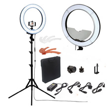 "fosoto Camera Photo/Studio/Phone/Video RL-18"" 55W 240 LED Ring Light 5500K Photography Dimmable Ring Lamp With Mirror/Tripod"