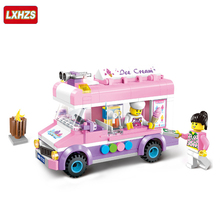 New 213pcs city Ice cream truck Compatible Enlighten Building Blocks Kids Educational Mobile ice cart Bricks Toys