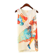 Fashion Ladies Fitted Sleeveless T Shirt Graphic Printed Vest