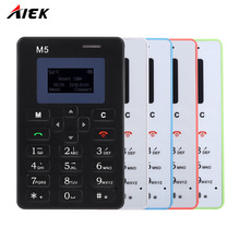 AEKU M5 Telephone 1.0 inch Ultra Thin Fashionable Mobile Positioning Card Phone Micro SIM Support Bluetooth Mini Mobile Phone(China)