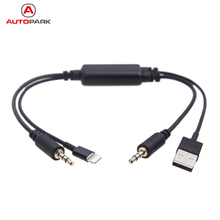 KKmoon Car Auto USB 3.5MM AUX Adapter Interface Original Cable for BMW MINI Cooper for iPod iPhone 5 5S 5C Aux Cable