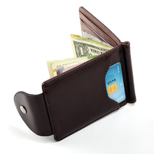 New arrival Men's leather wallets with photo holder Solid designer money clip purse with Hasp