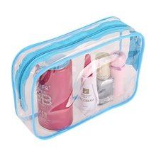 VSEN Hot PVC Clear Pouch Travel Bathing Toiletry Zipper Cosmetic Bag, Blue S(China)