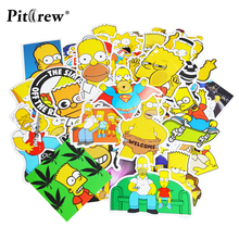 25 pcs The Simpsons Cartoon PVC Toys Cool Car Stickers Styling For Luggage Notebook Laptop Phone Bicycle Sticker Car-Styling