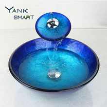 US Artistic Glass Vessel Basin Sink W/ Chrome Faucet & Pop-Up Drain Combo Set Bathroom sink set