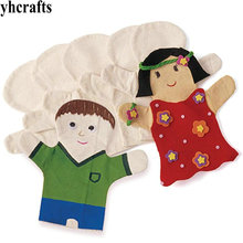 2PCS/LOT.Paint your own puppet Hand puppet Birthday gift Christmas toys Kindergarten arts and games Early educational toys OEM(China)