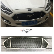 Silver Black Front Grille Grill Bezel Honeycomb Mesh Cover with Mustang LOGO for Ford Escort 2014-2017(China)