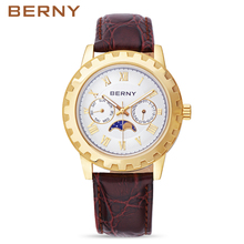 BERNY Role Men's Watches the Best Luxury Brand Rose Gold Fashion Moon Phase Wrist Watch Male Shock Waterproof Quartz Watches
