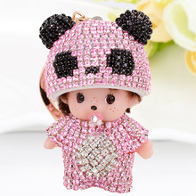 Cute Luxury Rhinestone KiKi Keychain Panda Monchichi Key Rings Holder Car Crystal Key Chains Women Bag Purse Jewelry Pendant